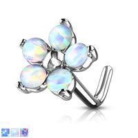 1pc Five Opal Petals Flower 20g L-Bend Nose Ring
