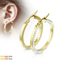 PAIR of Maze Hoop w/ Crystal Gem Paved Outer Side Earrings 20g Stainless Steel