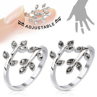 Leaves w/ Paved Gems Adjustable Mid Ring / Toe Ring