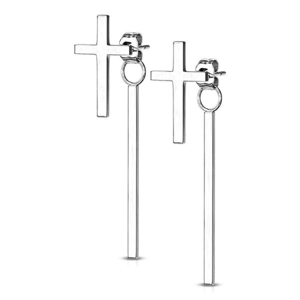 PAIR Cross & Long Bar Dangle Earrings 20g Butterfly Clasp Stainless Steel