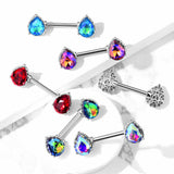 PAIR Aurora Borealis Effect Crystal Gem Tear Drop Nipple Rings Shield Barbells