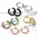 PAIR Stainless Steel Chunky Hoop Huggie Earrings 5mm Wide 20g Men or Women