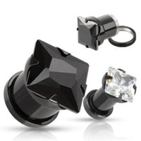 PAIR Large Square CZ Gem Black Titanium Screw Fit Tunnels Plugs