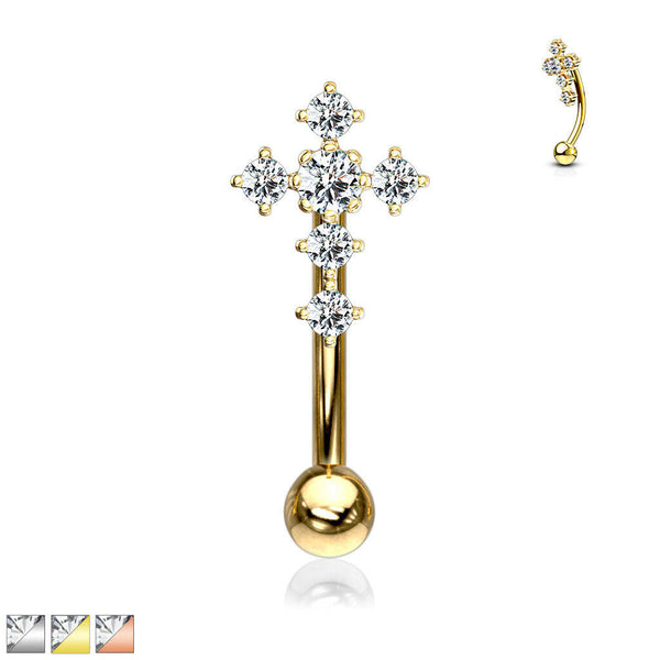 1pc CZ Gem Paved Cross Eyebrow Ring 16g Curved Barbell 16 Gauge