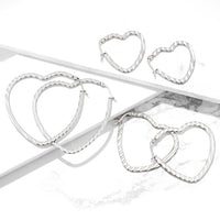 PAIR of Wave Pattern Heart Shaped Hoop Earrings 22g Stainless Steel