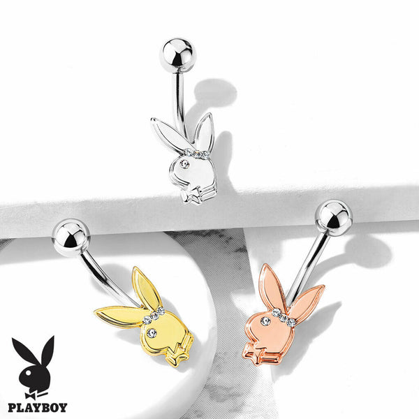 Playboy Bunny Belly Ring w/ Gem Eye & Headband Naval Piercing Navel