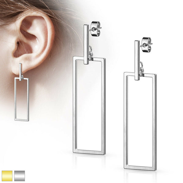 PAIR of Bar & Rectangle Dangle 20g Earrings Studs Stainless Steel