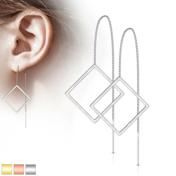 PAIR of Free Falling Chain Earrings w/ Bar & Open Square 20g Stainless Steel