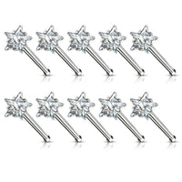 10pcs Prong Set Clear Star Gem Nose Ring Studs 18g 20g Wholesale Body Jewelry