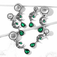 PAIR Emerald Green Stone w/ Moon Dangle Tunnels Screw Fit Plugs Earlets Gauges