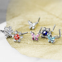 6pc Box Value Pack CZ Gem Butterfly & Flower 20g Steel L-Bend Nose Rings