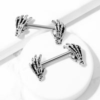 PAIR Nipple Shields Skull Hand Ends Body Jewelry Surgical Steel Barbell Rings