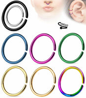 10pk Ear Cartilage Septum Nose Hoop Rings Rook Daith Helix Tragus Body Jewelry