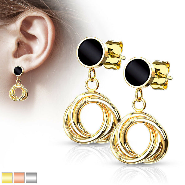 167e67670 PAIR Stud Earrings Intertwined Circle Hoops IP Stainless Steel 20g – JSW  Body Jewelry