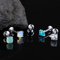 1pc Semi-Precious Stone Set 16g Internally Threaded Labret Stud Cartilage Ring