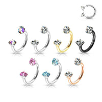 1pc Prong Set Gems Circular Barbell Horseshoe Lip Nipple Septum Ring 16g