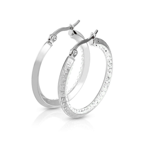 PAIR of Maze Hoop w/ Crystal Gem Paved Inner Edge Earrings 20g Stainless Steel