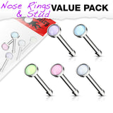 5pcs Illuminating Stone 20g Nose Rings Studs Bones Surgical Steel Value Pack