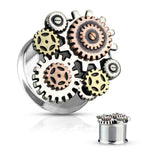 PAIR Steampunk Gears Tunnels Double Flare Surgical Steel Plugs Earlet Gauges