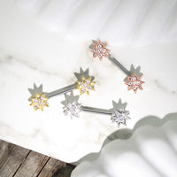 PAIR CZ Paved Starburst Star Nipple Rings Shields