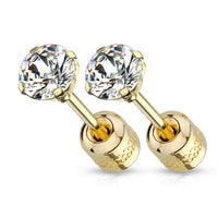 PAIR Prong Set CZ Gem Stud Gold Earrings w/ Gem Centered Screw Back Steel
