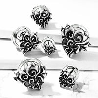 PAIR Antique Silver Devil Heart Tunnels Surgical Steel Plugs Earlets Gauges