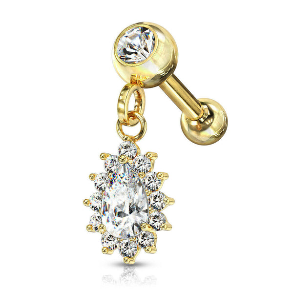 1pc CZ Gem Pear Dangle Surgical Steel Tragus Cartilage Barbell Ring 16g 1/4