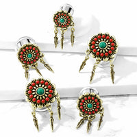 PAIR Red & Turquoise Flower w/ Feather Dangles Double Flare Tunnel Plugs Gauges