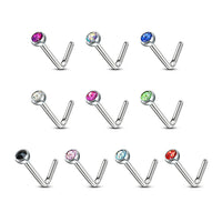 10pcs SAME-COLOR Press-Fit Gem L-Bend Nose Ring Studs Surgical Steel