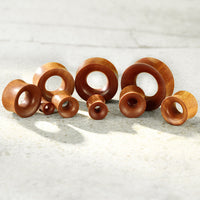 PAIR Concave Organic Red Saba Wood Double Flare Tunnels