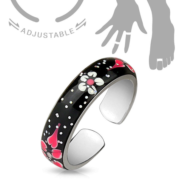 Enamel Painted Flowers Sparkle Adjustable Mid Ring / Toe Ring