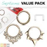 3pc Value Pack: 16g Bendable Design Septum / Cartilage Rings w/free Retainer!