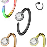 1pc Bendable Gem Nose Hoop / Cartilage Ring Annealed Plated 316L Surgical Steel