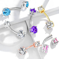 Internally Threaded Steel Prong Set CZ Gems Belly Ring Pierced Navel Naval