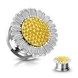 PAIR Daisy Flower Steel Screw Fit Tunnels Plugs Gauges Earlets Body Jewelry