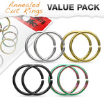 8pc Value Pack Titanium Anodized Annealed Cartilage Tragus Septum Nose Hoop Ring