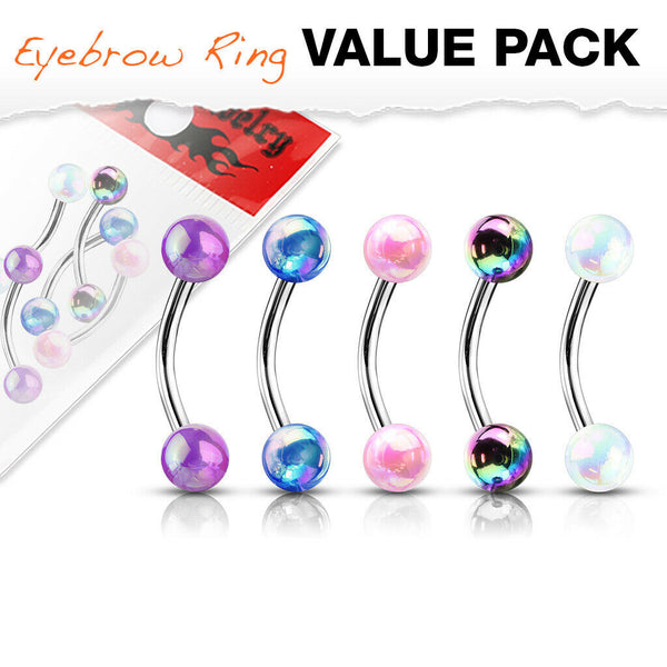 16g-5//16 Titanium Spiked Eyebrow Rings Wholesale Spike Curved Barbells Body Jewlery 6 pcs
