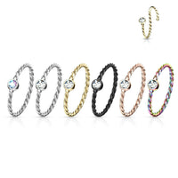 1pc Bendable Steel Twisted Rope Gem Nose Hoop Cartilage Ring Rook Daith Helix
