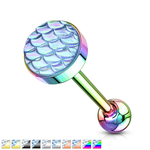 1pc Iridescent Fish Scale Flat Top Tongue Ring Barbells Tounge Body Jewelry