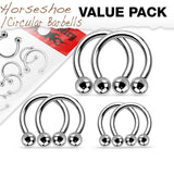 3 PAIR Value Pack 316L Surgical Steel Circular Barbells Horseshoes