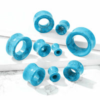 PAIR Turquoise Stone Tunnels Double Flare Plugs Earlets Gauges