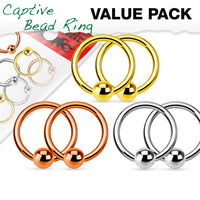 3 PAIR Value Pack Steel, Gold, Rose Gold Captive Bead Rings