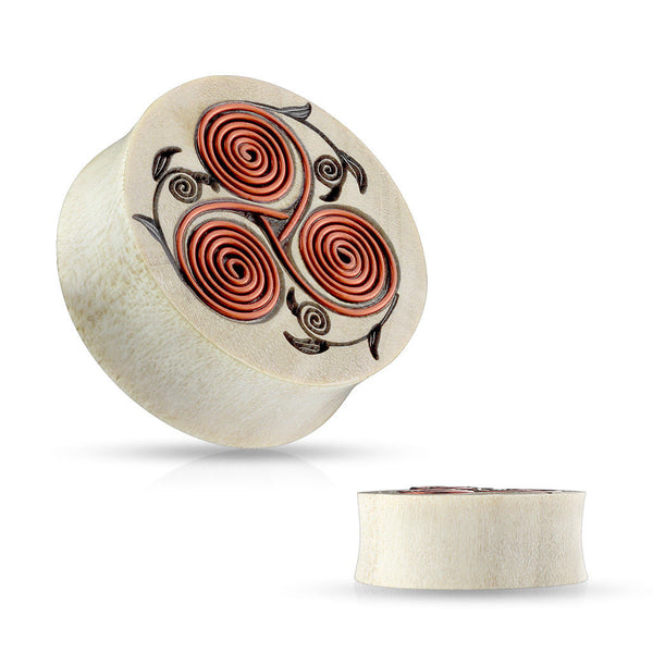 PAIR Copper Wire Tribal Floral Design Wood Saddle Plugs