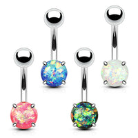4pc Value Pack Prong Set Opal Belly Rings 14g Navel Naval Body Jewelry