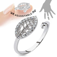 Leaf Multi-Paved CZ Gems Adjustable Nail Ring / Toe Ring