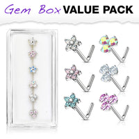 6pcs Triangle & Flower CZ Gem L-Bend Nose Stud Rings Screws 20g Box Value Pack