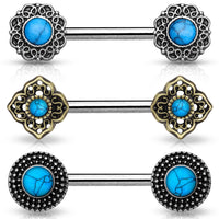 PAIR Turquoise Centered Design Nipple Rings Shields