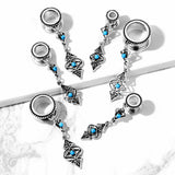 PAIR Turquoise Tribal Charms Dangle Tunnels Screw Fit Plugs Earlets Gauges