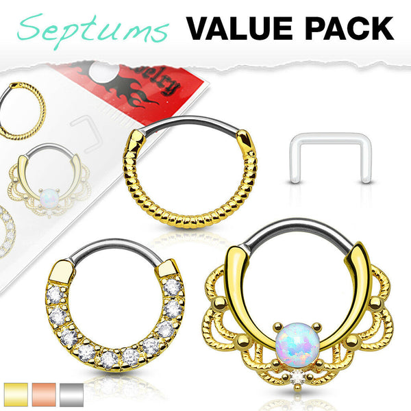 3pc Value Pack: 14g Opal / CZ Gem / Rope Septum Clicker Rings, w/free Retainer!