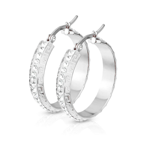 PAIR of Maze Hoop w/ Crystal Gem Paved Center Earrings 20g Stainless Steel
